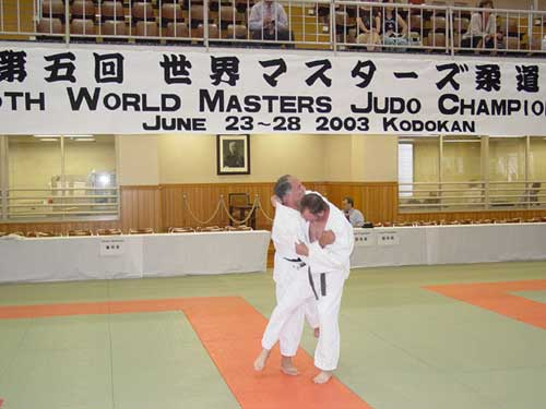 Bill Gaffney (instructor at Encino Judo Club) performing osotogari on Steve Hoyt (instructor at Santa Barbara Judo Club) in practice at the Kodokan